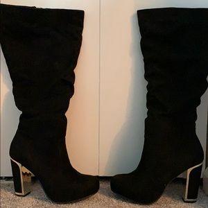 Black Metal Heel Slouch Boot